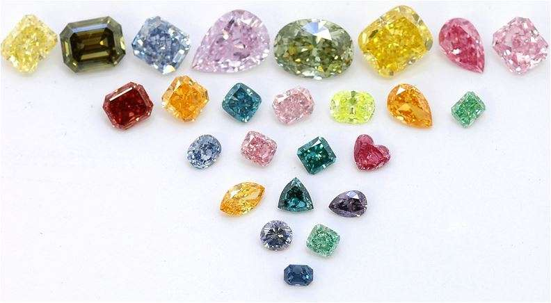Image of different shapes, sizes and color of cremation diamonds