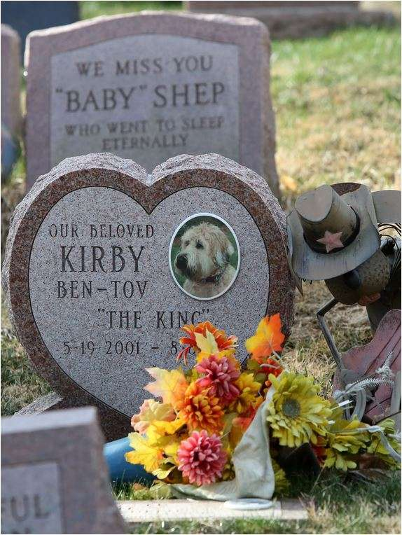 Image of a pet cemetery with monuments for pets.